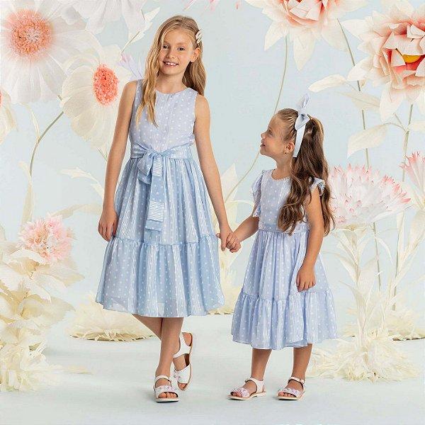 Vestido de festa infantil Petit Cherie luxo poá azul