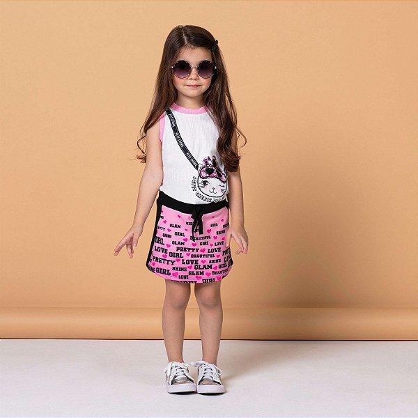 Conjunto infantil Petit Cherie blusinha com saia gatinha rosa e preto