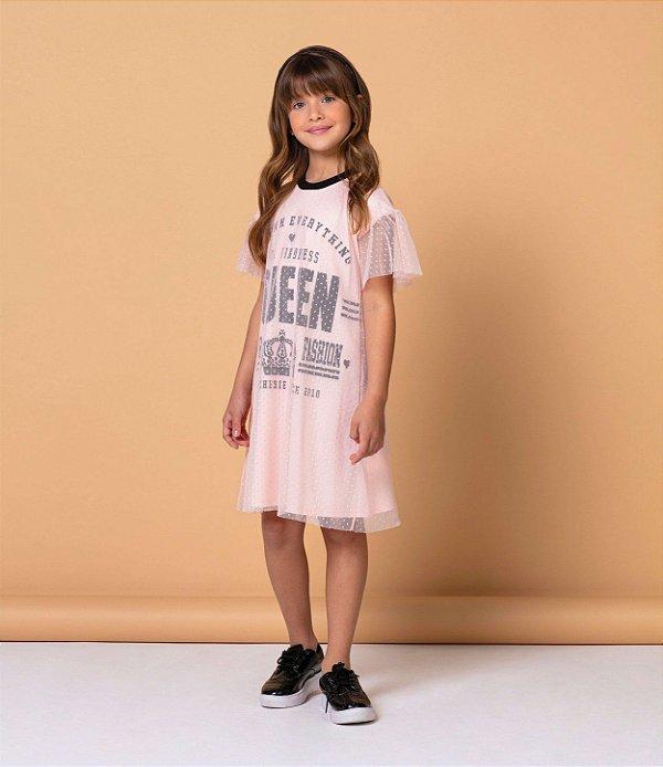 Vestido infantil Petit Cherie casual love queen tule poá rosa