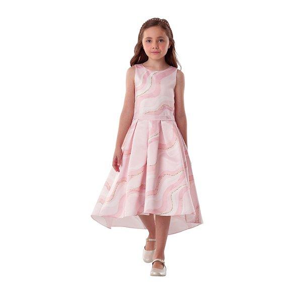 Vestido de festa infantil Petit Cherie mullet listrado rosa glitter