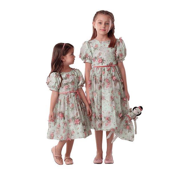 Vestido de festa infantil Petit Cherie jardim encantado floral verde e rosa
