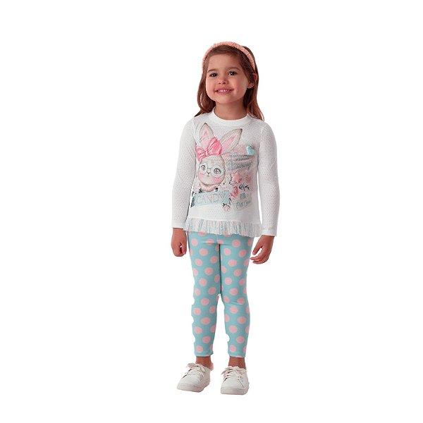 Conjunto infantil Petit Cherie inverno blusa coelhinho legging poá azul e rosa