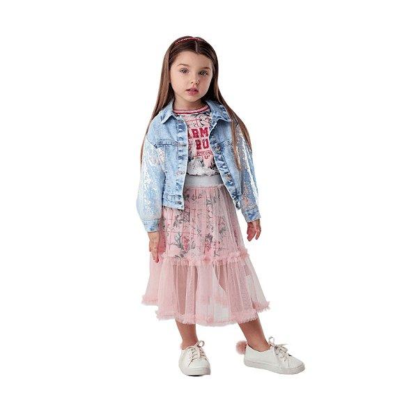 Jaqueta jeans infantil Petit Cherie menina paetês