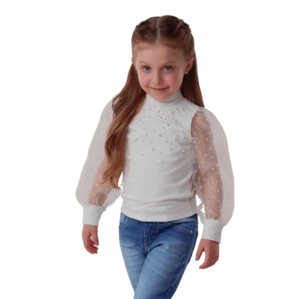Blusa infantil Petit Cherie manga longa organza e pérola off white 8 ao 16