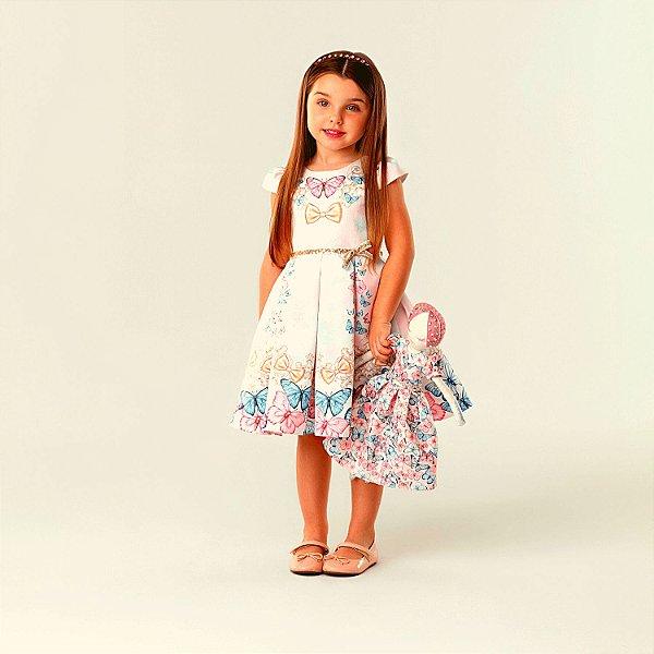 Vestido de festa infantil Petit Cherie jardim encantado borboletas rosa cinto paetê