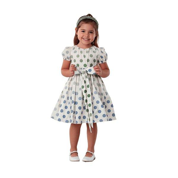 Vestido de festa infantil Petit Cherie luxo poá verde