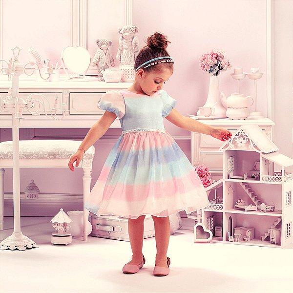Vestido de festa infantil Petit Cherie princesa candy color rosa e azul