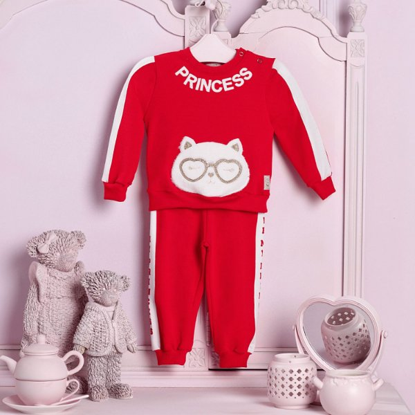 Conjunto de bebê Petit Cherie menina moletom ursinho vermelho