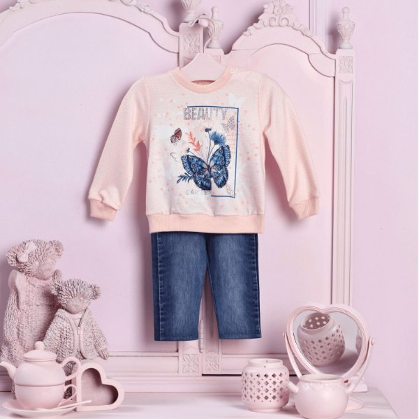 Conjunto bebê Petit Cherie blusa borboleta com calça legging jeans rosa