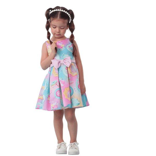 Vestido infantil Mon Sucré doces donuts e cupcakes rosa e verde