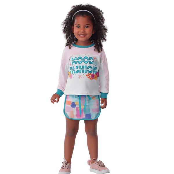 Conjunto infantil Mon Sucré inverno blusa moletinho com saia mood fashion rosa