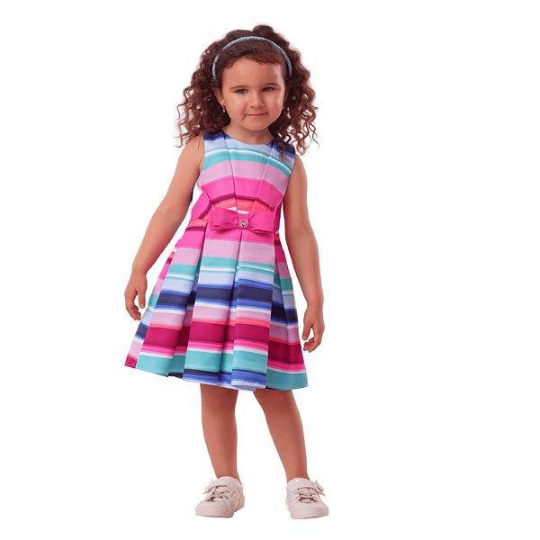 Vestido infantil Mon Sucré listrado colorido