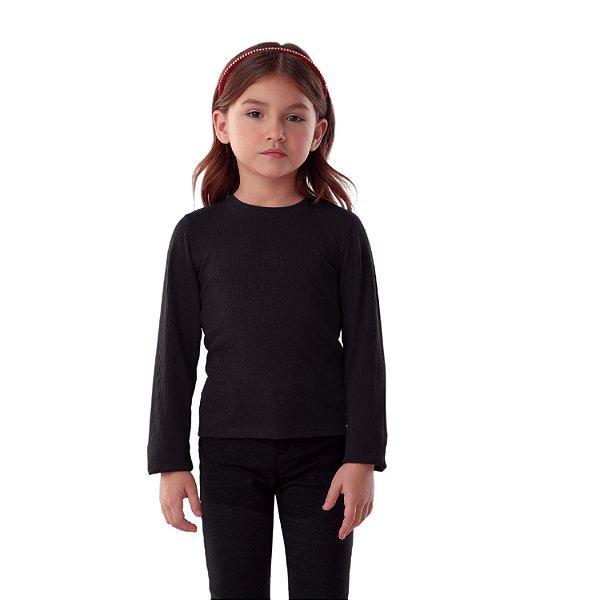 Blusa infantil Petit Cherie inverno básica preta