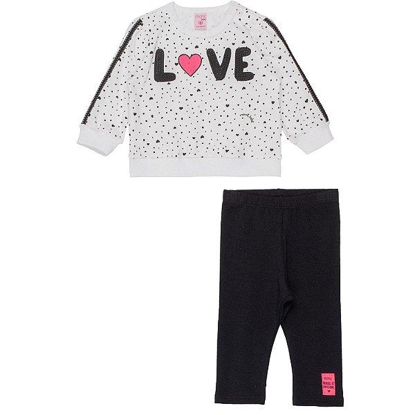 Conjunto bebê Momi inverno blusa moletom de poá Love com legging preta
