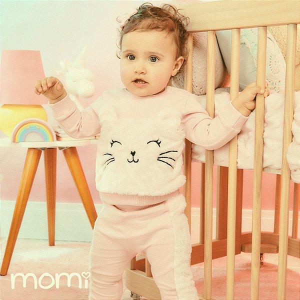 Conjunto de bebê Momi inverno blusa de moletom com gatinho pelúcia com calça rose