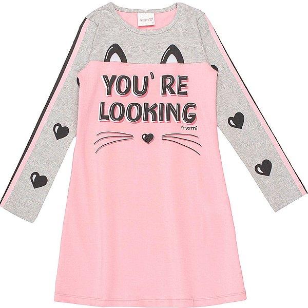 Vestido infantil Momi inverno manga longa gatinho rosa e cinza Tamanho 4