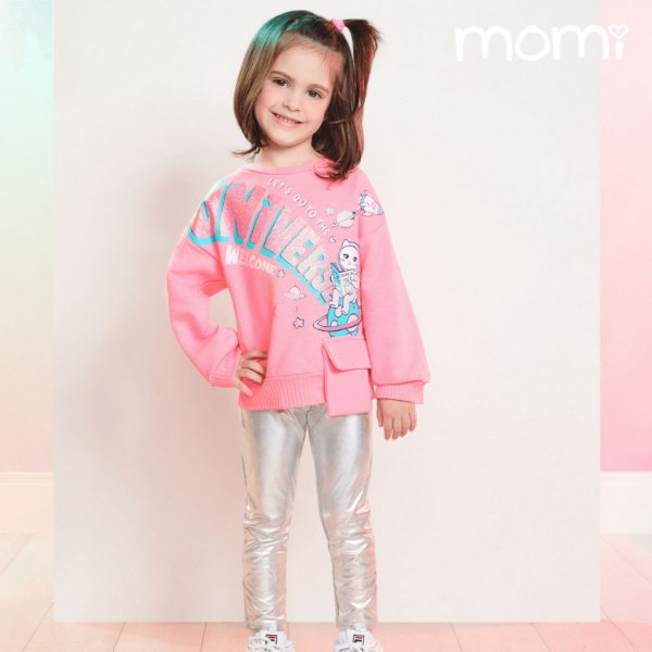 Conjunto infantil Momi inverno blusa moletom rosa neon com legging cirrê prata