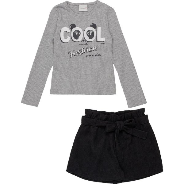 Conjunto infantil Momi blusa manga longa panda cinza com shorts veludo preto