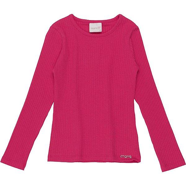 Blusa infantil Momi menina manga longa básica pink Tamanho 10