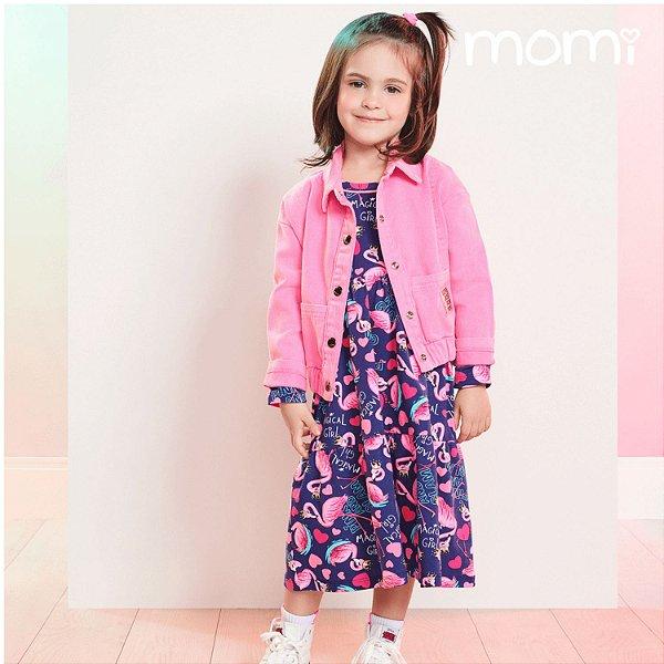 Vestido infantil Momi inverno casual manga longa flamingo