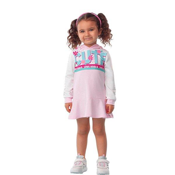 Vestido infantil Mon Sucré casual inverno cute rosa