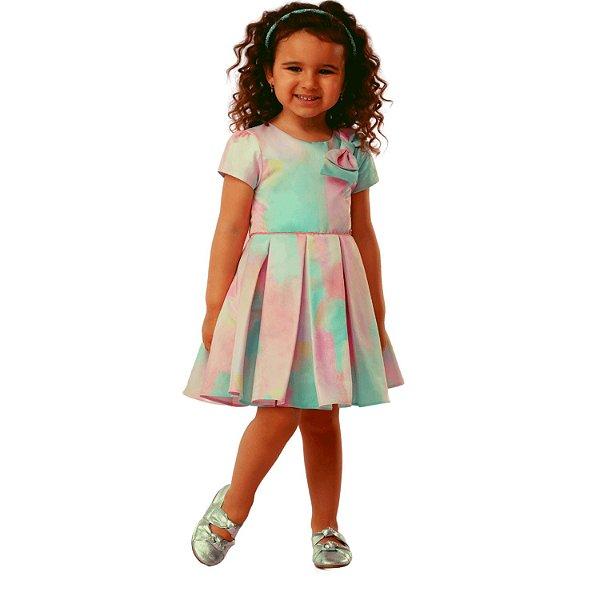 Vestido infantil Mon Sucré tie dye colorido rosa e verde