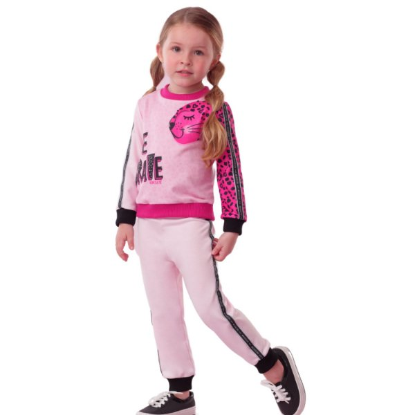 Conjunto infantil Mon Sucré blusa e calça moletom pantera rosa pink