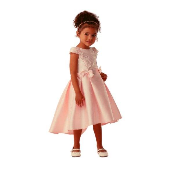 Vestido de festa infantil Petit Cherie mullet luxo rosa claro