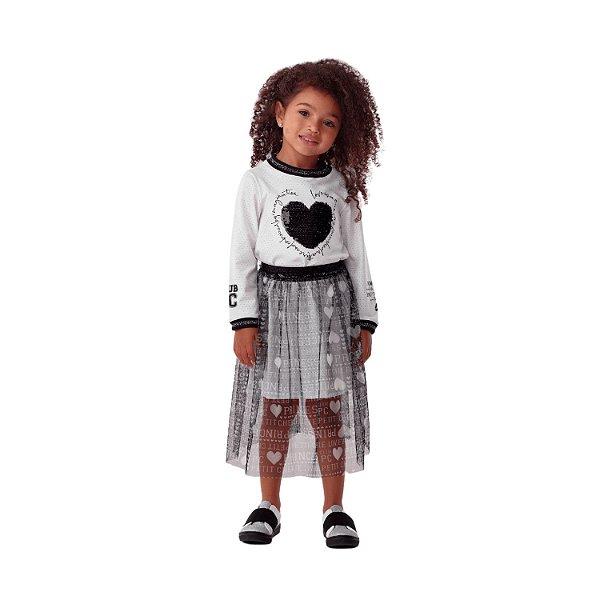 Vestido infantil Petit Cherie inverno coração paetê com saia tule preta e off white