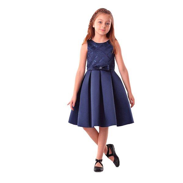 Vestido infantil de festa Petit Cherie luxo clássico azul marinho