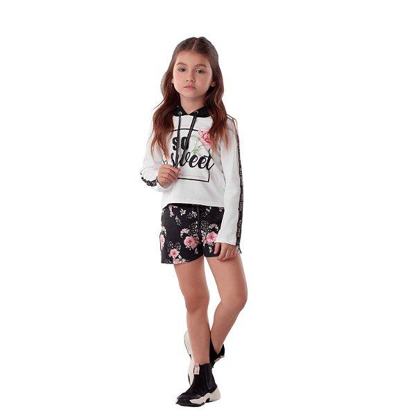 Conjunto infantil Petit Cherie inverno blusa capuz e shorts floral preto