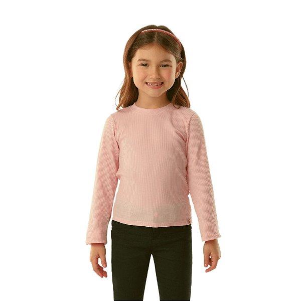 Blusa infantil Petit Cherie inverno básica rosa