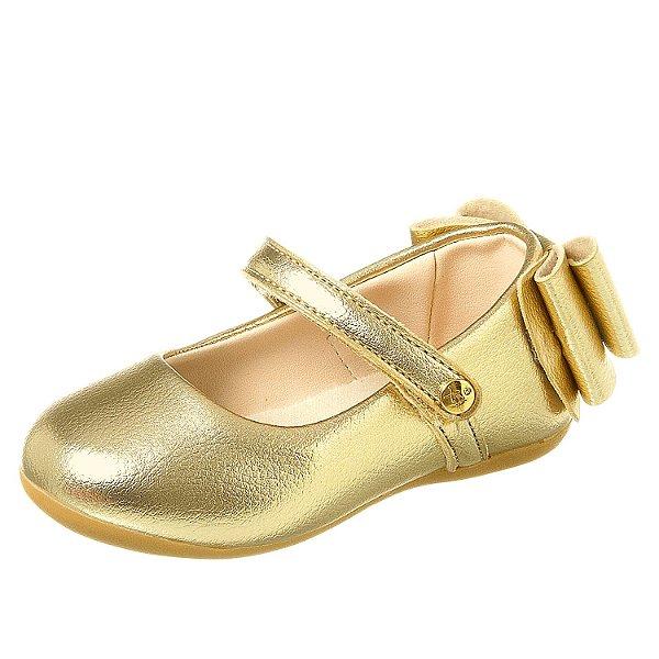Sapato infantil boneca feminino dourado couro metalizado 22 ao 27