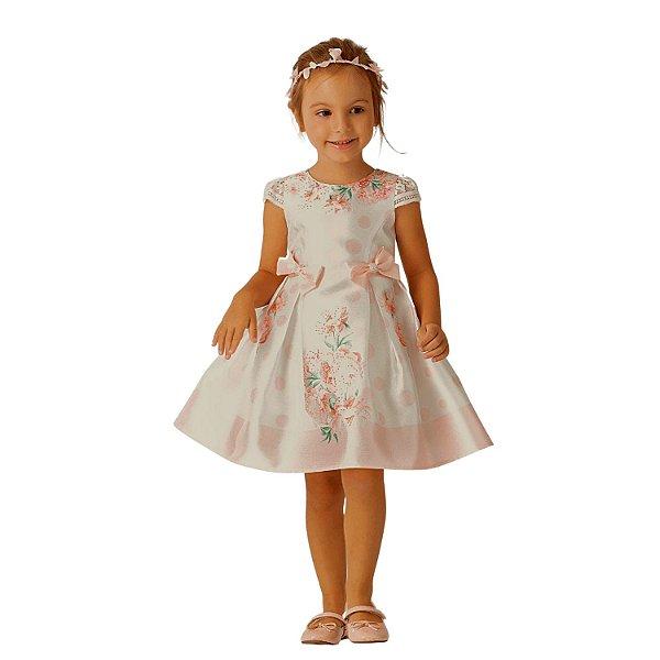 Vestido de festa infantil Petit Cherie floral off white rosa tam 6