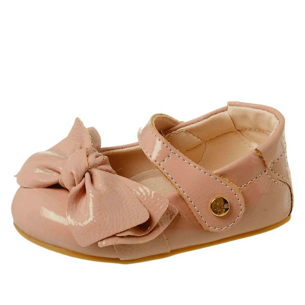 Sapato infantil menina de verniz com laço rose Xuá Xuá