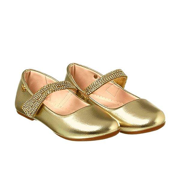 Sapato infantil menina dourado com strass luxo tamanho 20
