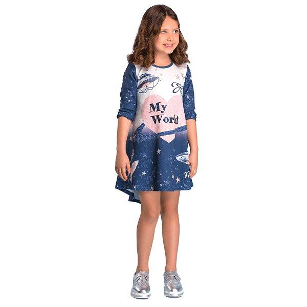 Vestido infantil Petit Cherie casual planetas estrelas azul tam 14