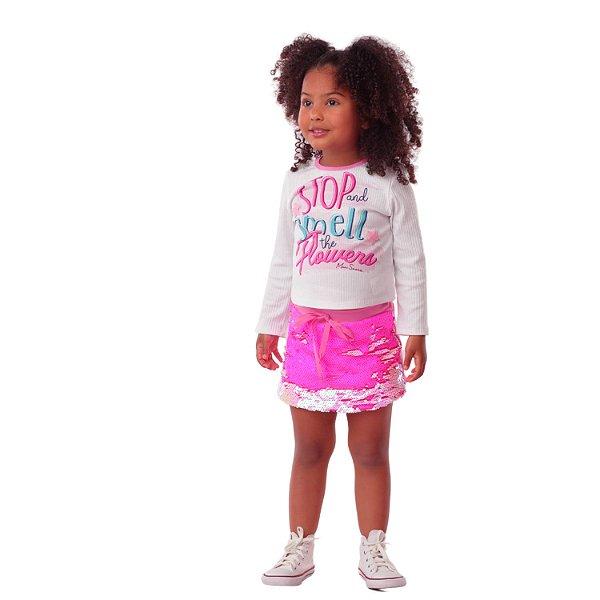 Conjunto infantil Mon Sucré blusa com short saia paetê mágico pink
