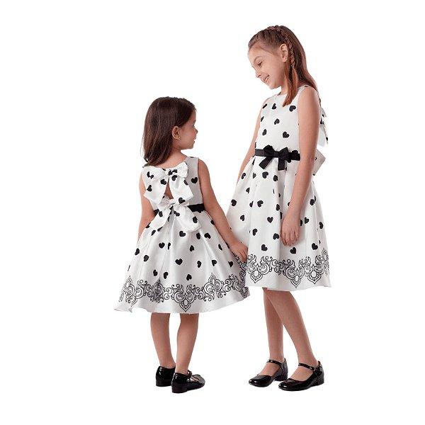 Vestido de festa infantil Petit Cherie coração preto e branco 8 ao 16