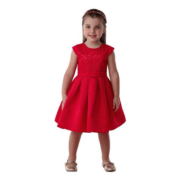 Vestido infantil de festa Petit Cherie vermelho paetê 01 ao 04