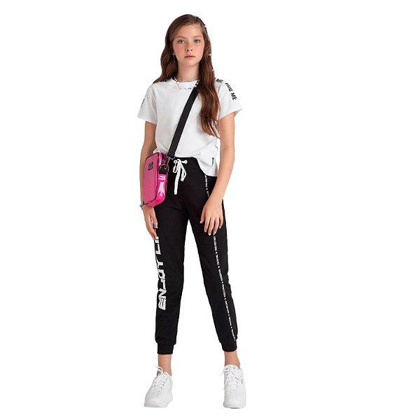 Calça de moletom teen feminina preta tumblr