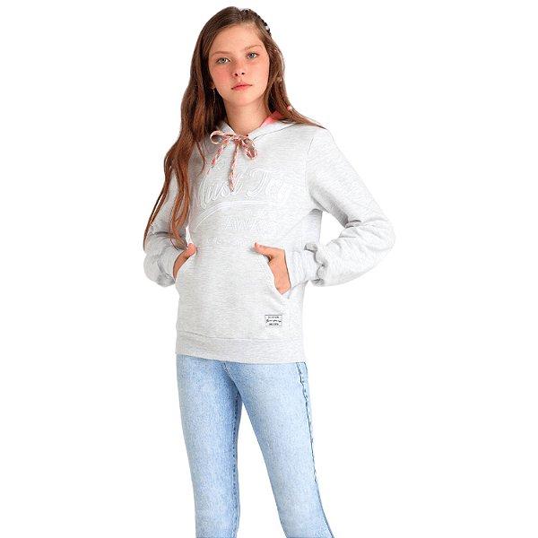 Blusa de moletom teen canguru cinza capuz Vanilla Cream