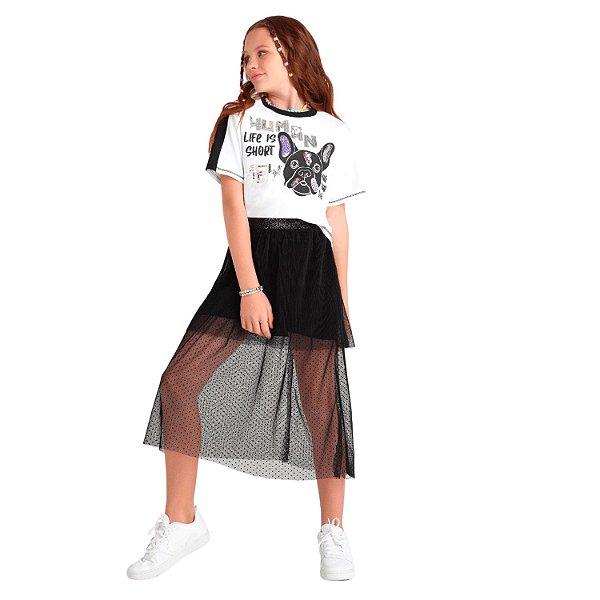 T-Shirt cropped bulldog e paetês branca e preta