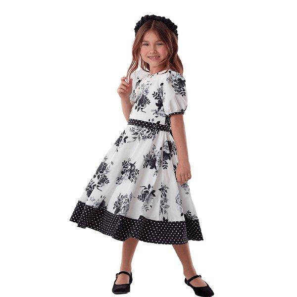 Vestido de festa infantil Petit Cherie floral poá branco e preto