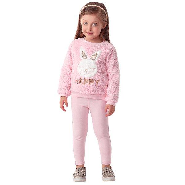 Conjunto infantil Petit Cherie blusa pelinho coelho com calça rosa
