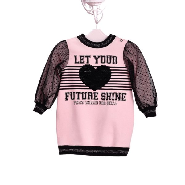 Vestido de bebê Petit Cherie inverno coração rosa e preto Tamanho M