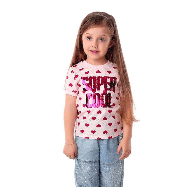 """Blusa infantil Petit Cherie """"super cool"""" de coração rosa Tam 3"""