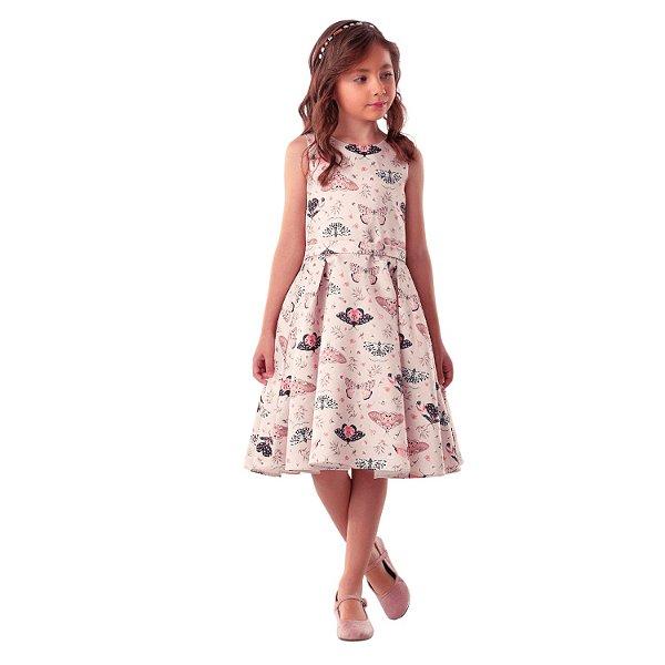 Vestido de festa infantil Petit Cherie borboletas rosa