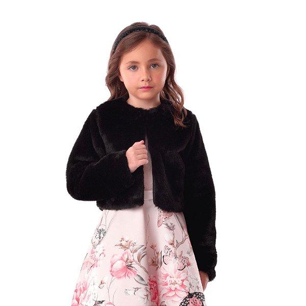 Bolero infantil Petit Cherie inverno pelúcia preto