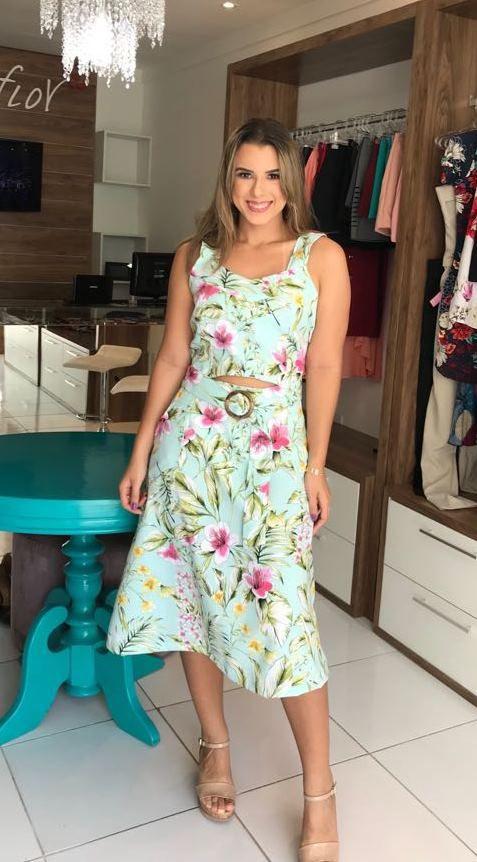 c36878ff1 Vestido em Linho - Rosa Flor Moda Feminina